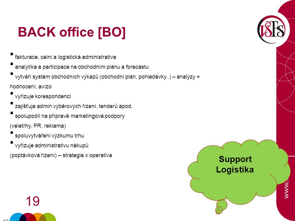 BACK office [BO] Support Logistika